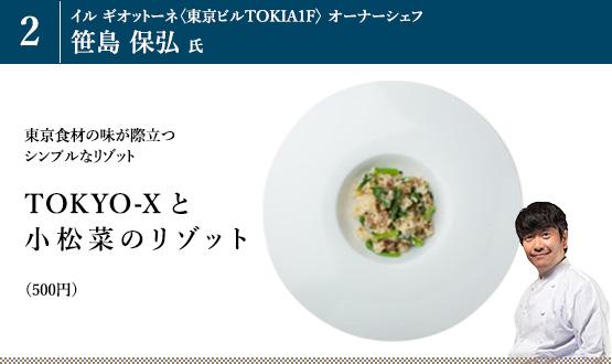 「TOKYO-Xと小松菜のリゾット」(500円)