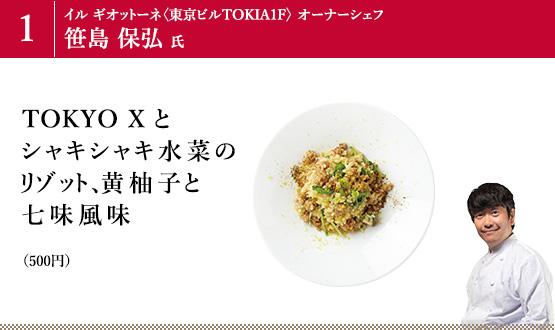 TOKYO X とシャキシャキ水菜のリゾット、黄柚子と七味風味