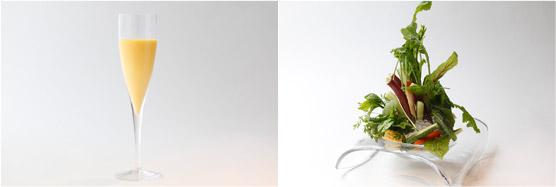 芦田さんのサニーショコラのとうもろこしジュース(左)、農園バーニャカウダ(右)