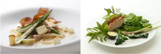 (左)、千両茄子とオクラ、サルシッチャのクリームソース ピチ(右)