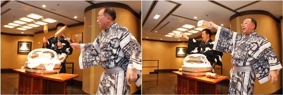 脇屋氏&田村氏が木槌で氷のドームを割る