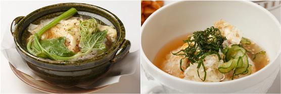 アッツ熱っ!!(左)、冷やしる夏野菜(右)