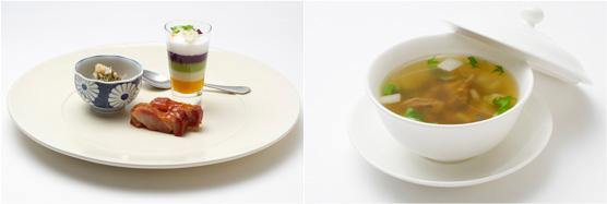 四種の東京野菜のピュレ、小笠原の天然塩添え】と、杉山シェフの「野菜たっぷりなめろう(左)、広東風チャーシュー(右)