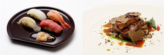 お好み江戸前握り寿司 とれたての新米と魚を福井県より(左)、東京・竹内牧場の秋川牛フィレ肉とフォアグラのロッシーニ ミクニスタイル(右)
