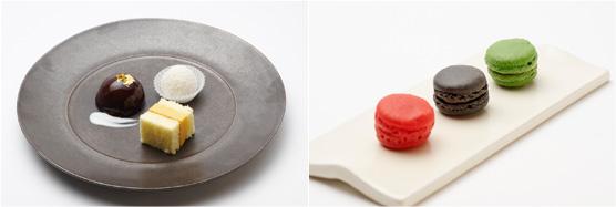 【チョコレートの漆塗り仕立て】【江戸前 厚焼き卵焼き】【マンゴー入りココナッツ団子】(左)、東京マカロン(右