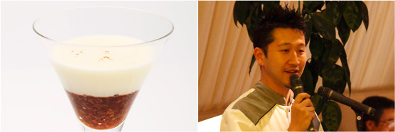 麻婆あんに豆腐(左)、長谷川シェフ(右)