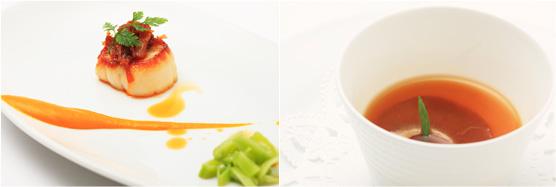 甘栗かぼちゃのビューレ(左)、ふかれの牡蠣油風味 エストラゴンの香りをのせたコンソメ(右)