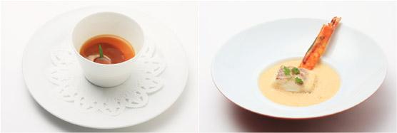 フランス産鴨のフォアグラのフランと加賀レンコン ふかれの牡蠣油風味 エストラゴンの香りをのせたコンソメとともに(左)、120度で蒸し焼きにした真鯛 車海老のクルスティヤン 金沢一本太ねぎのエチュベ ブイヨンカプチーノ(右)