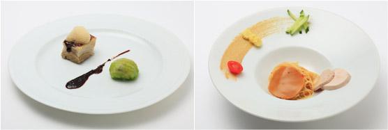 三元豚のコンフィー キャベツのプレゼ 回鍋肉仕立て 甜面醤の泡を添えて(左)、冷製坦坦カッペリーニ 阿岸の七面鳥のルーレと共に(右)