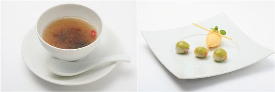 金沢産鳥骨鶏と香り高いポルチーニ茸などが入ったソープ(左)、ライチと抹茶のクレーム ジャスミンのジュレ 杏仁豆腐のソルベ(右)