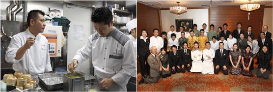 遠藤シェフと長谷川シェフ(左)、シェフと一緒に記念撮影(右)