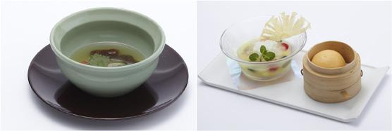 福寿好運来 極菇燉甲魚 スッポンとキヌガサ茸とモリーユ茸の滋養蒸しスープ(左)、鴻運年年 鴛鴦甜品 本日のスペシャルデザート(右)