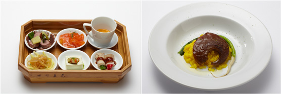 四川&イタリアン 六味前菜の盛り合わせf、フカヒレのムニエルとすぐきを使った会津米のリゾット 京都青ゆずの香り(右)