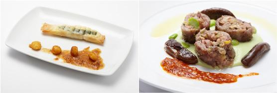 海鮮とリコッタチーズ、菊菜、菊花のパートフィロ包み「春巻き仕立て」(左)、餃子ミンチを詰めた豚肩ロースのインボルティーニ(右)