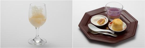 梅酒のグラニテ(左)、デザート3種盛り(左)
