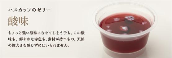 ハスカップのゼリー ちょっと強い酸味にむせてしまう子も。この酸味も、鮮やかな赤色も、素材が持つもの。天然の偉大さを感じずにはいられません。
