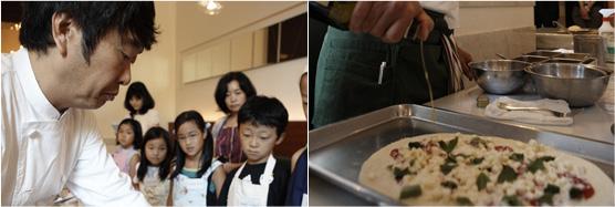 笹島シェフの見事な手さばき。あっという間にピッツァが完成します