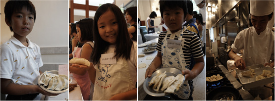 自分で包んだ餃子と一緒に。お家でお手伝いしてる子も多く、みんな上手に包めています。厨房では中華のシェフがひとつひとつ丁寧に焼いてくれました